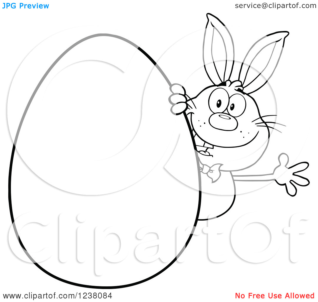 Clipart Of A Black And White Rabbit Waving Around A Giant Easter Egg