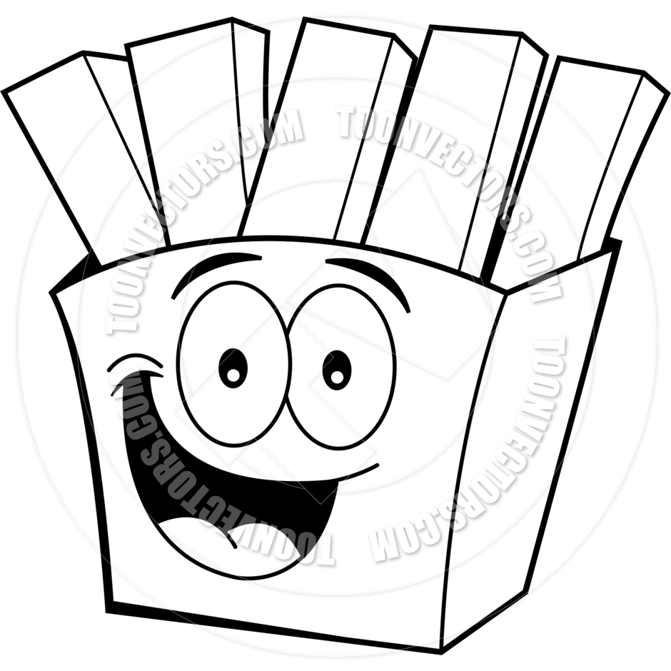 French Fries Clipart Black And White Cartoon French Fries  Black