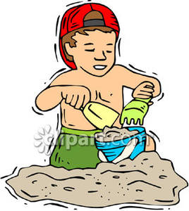 Little Boy Building A Sand Castle   Royalty Free Clipart Picture