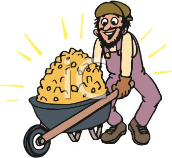Miner With A Wheelbarrow Full Of Gold   Royalty Free Clipart Picture