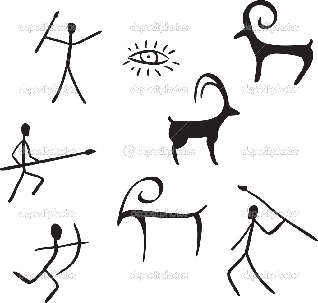 Primitive Figures Looks Like Cave Painting   Stock Vector