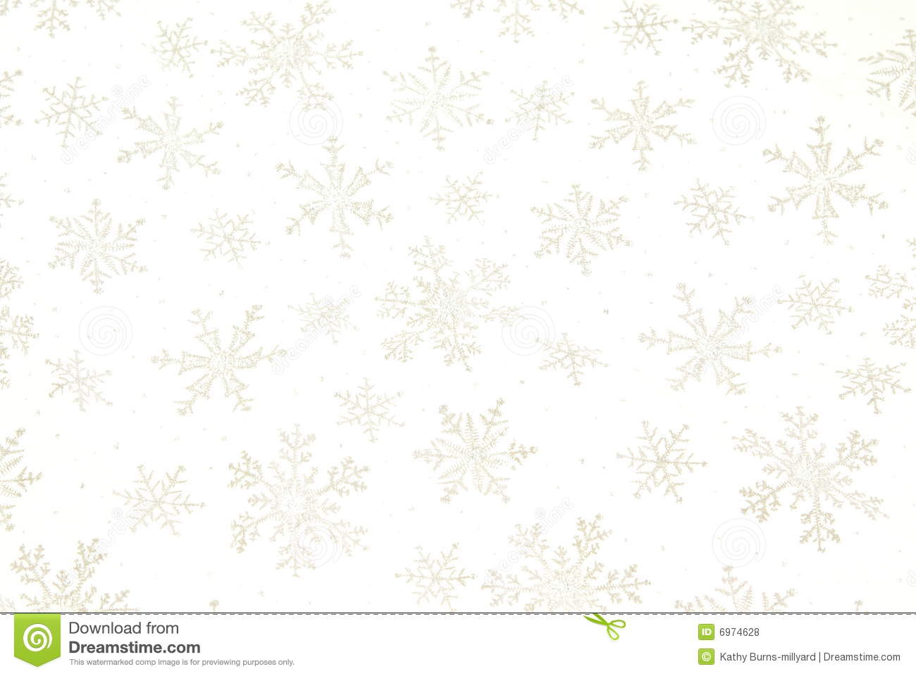 Snowflake Background With Shiny Metallic Snowflakes On White Gauzy