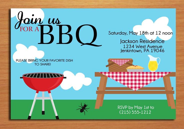 Summer Picnic   Customized Printable Bbq Invitation Cards Diy
