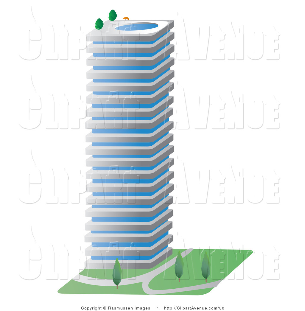 Avenue Clipart Of A Tall Commercial City Building With A Swimming Pool