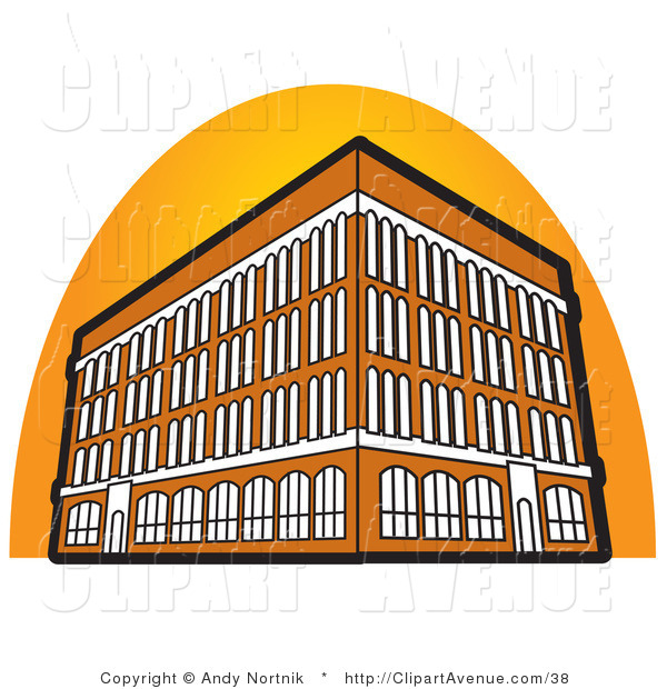 Avenue Vector Clipart Of A Tall Orange Commercial Building With Four