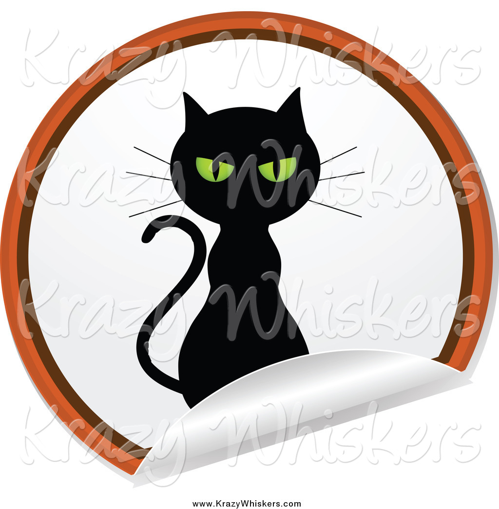 Black Cat On A Round Peeling Sticker March 8th 2015 Lineart Guilty Cat