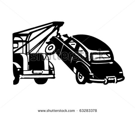 Car Being Towed   Retro Clipart Illustration   63283378   Shutterstock