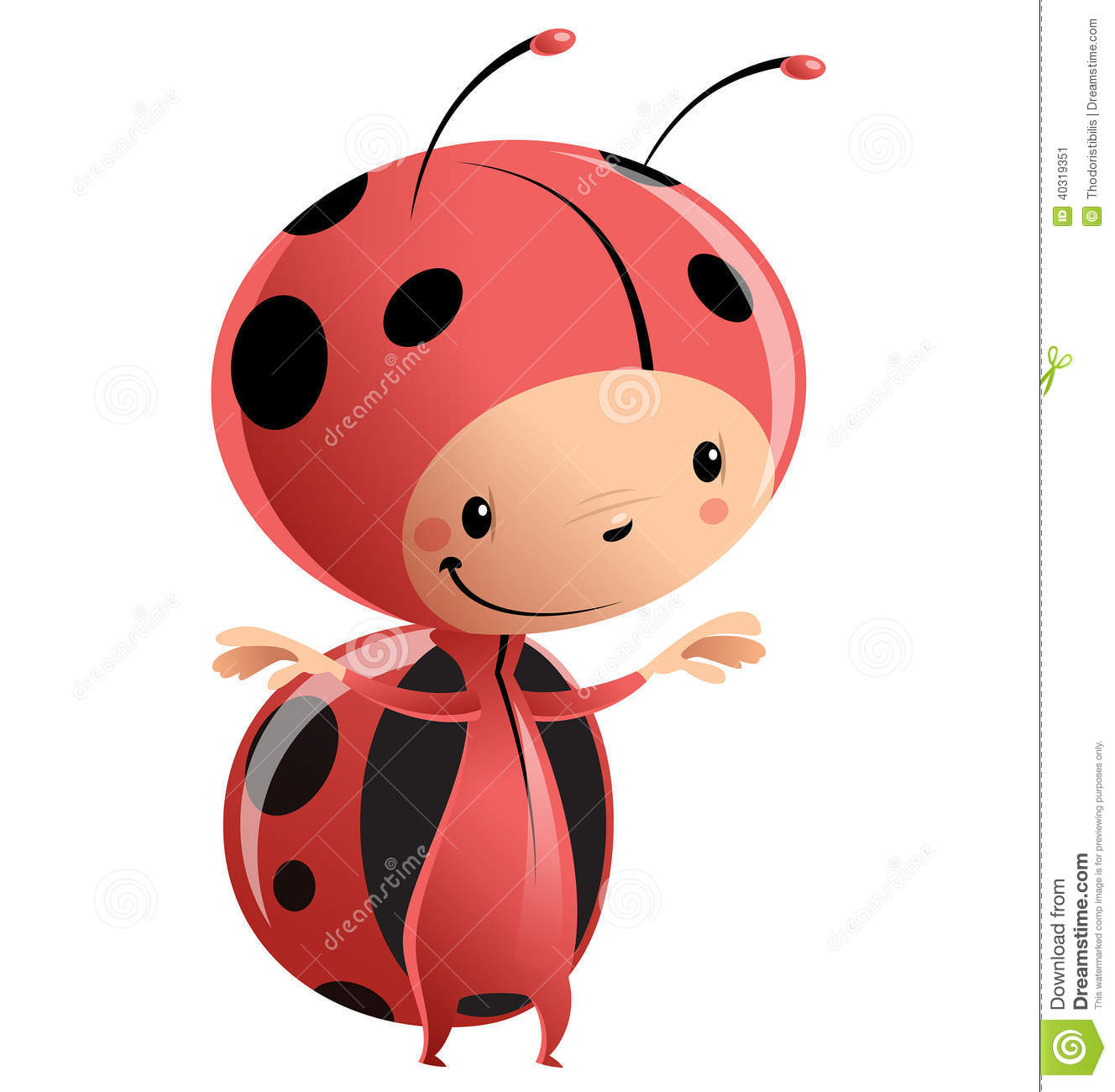 Cartoon Vector Illustration With Child In Funny Red Lady Bug Suit With