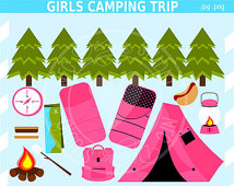 Clipart   Outdoor Troop Tent Sleeping Bag Campfire Lantern Pink