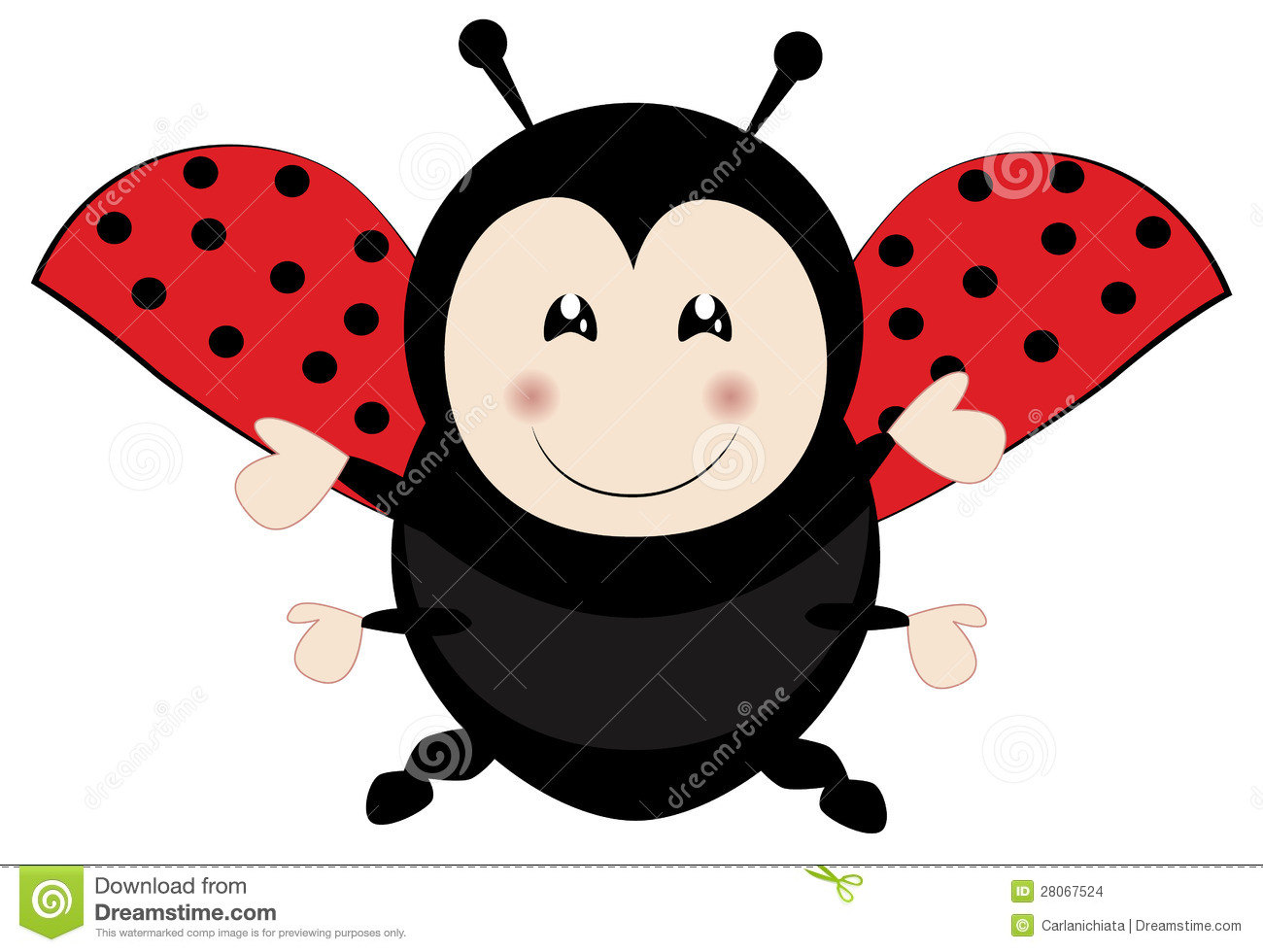 Cute Ladybug Flying With Wide Open Arms