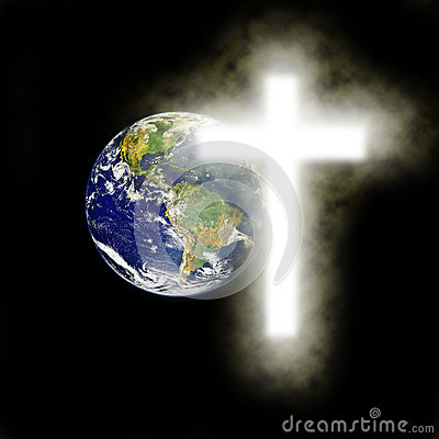 Earth With Religious Cross With Black Background Stock Photo   Image