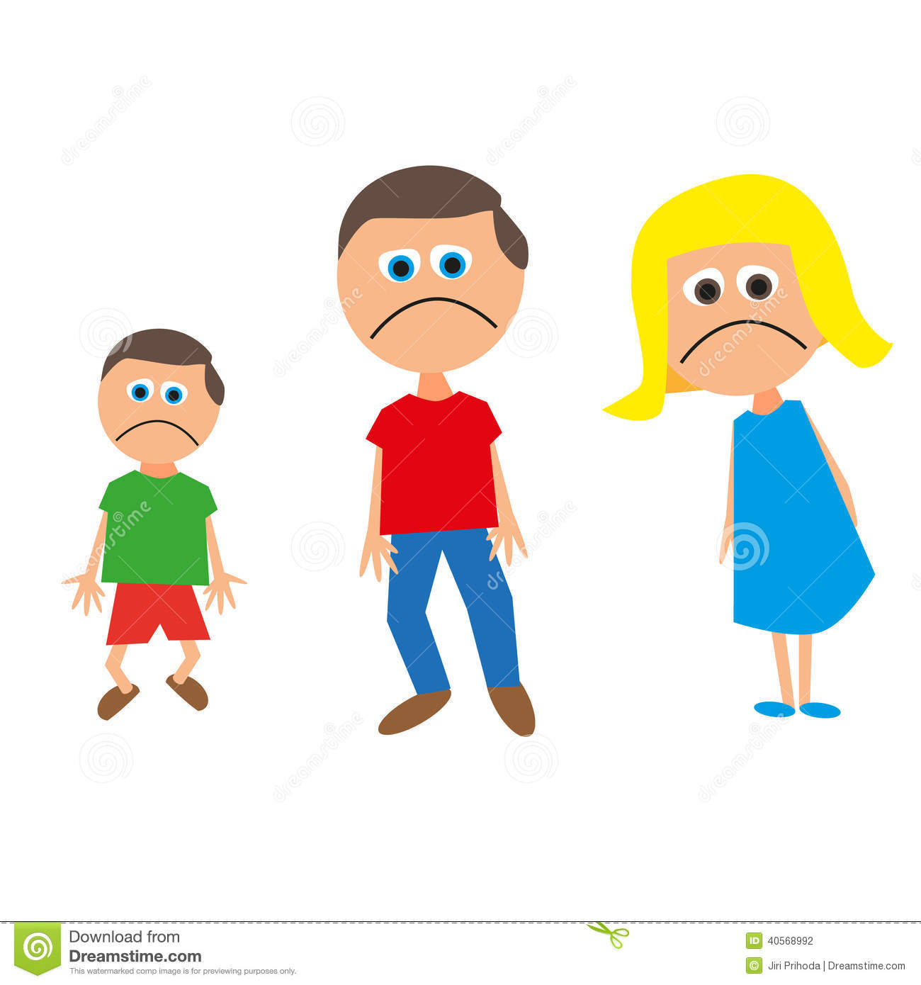 Family Of Three Sad Stock Vector   Image  40568992