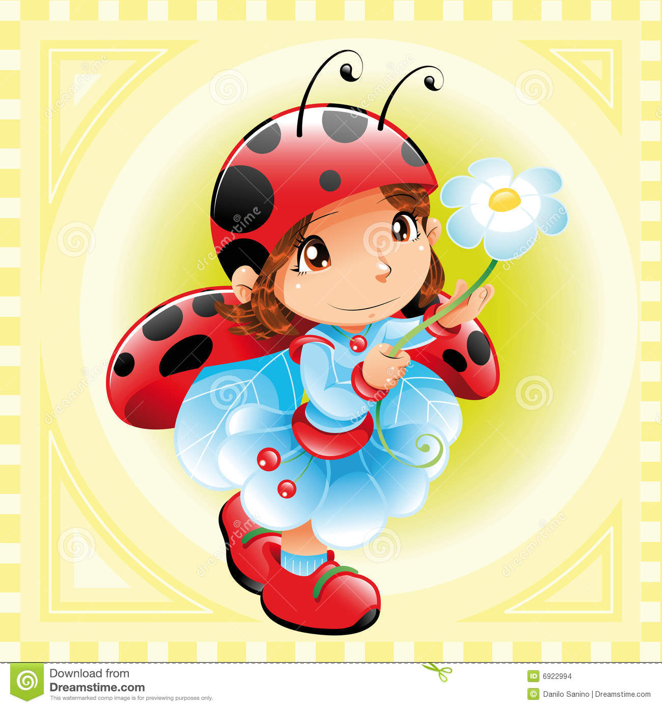 Funny Girl Ladybug Vector Image Software  Illustrator