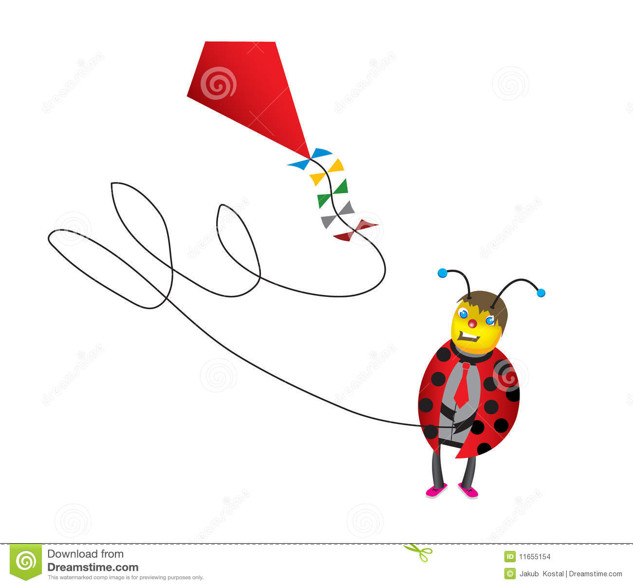 Funny Ladybug Cartoon With Kite Stock Images   Image  11655154