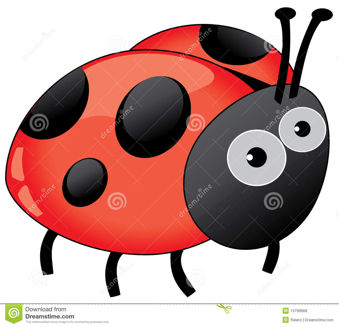 Funny Ladybug Isolated On White