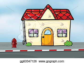 Of A Small House Near The Street  Clipart Drawing Gg63347126