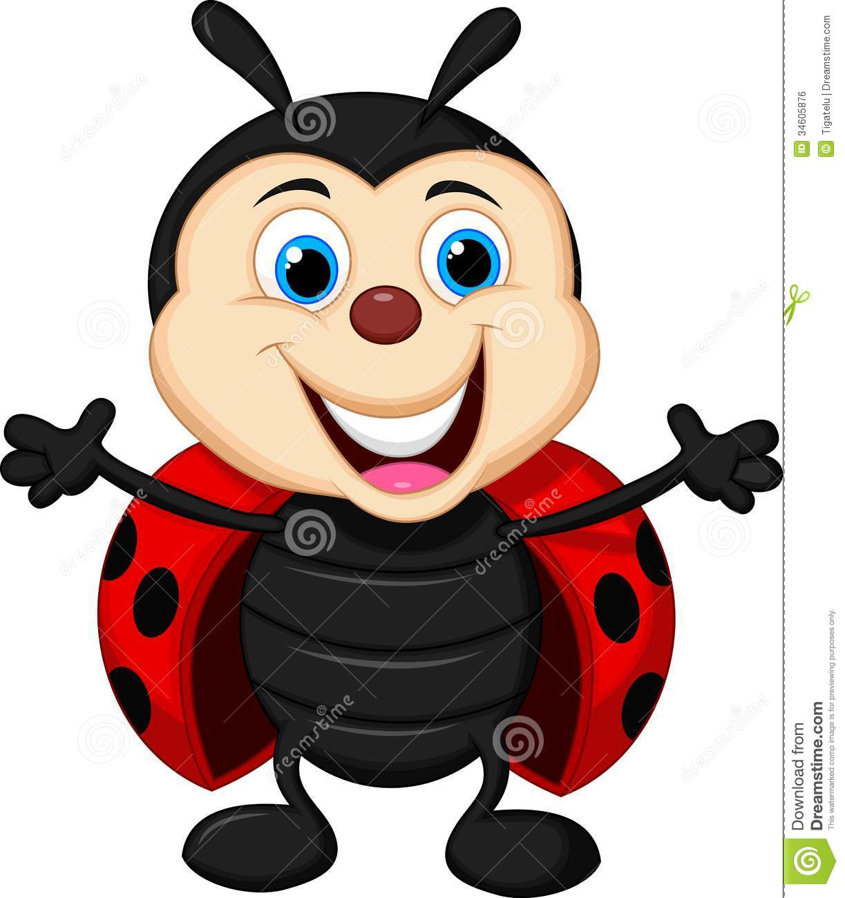 Royalty Free Stock Image  Happy Ladybug Cartoon