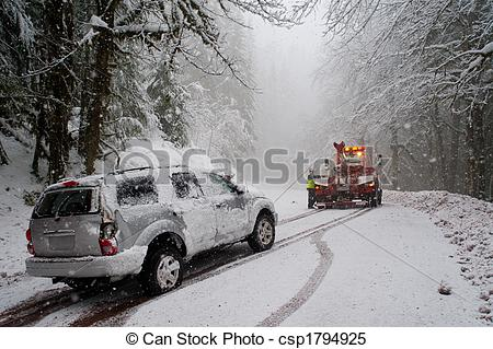 Stock Photo   Auto Accident In The Snow   Stock Image Images Royalty
