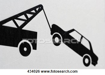 Stock Photo   Information Sign Showing Car Being Towed  Fotosearch