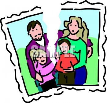 Torn Photograph Depicting Of A Family Split By Divorce   Royalty Free