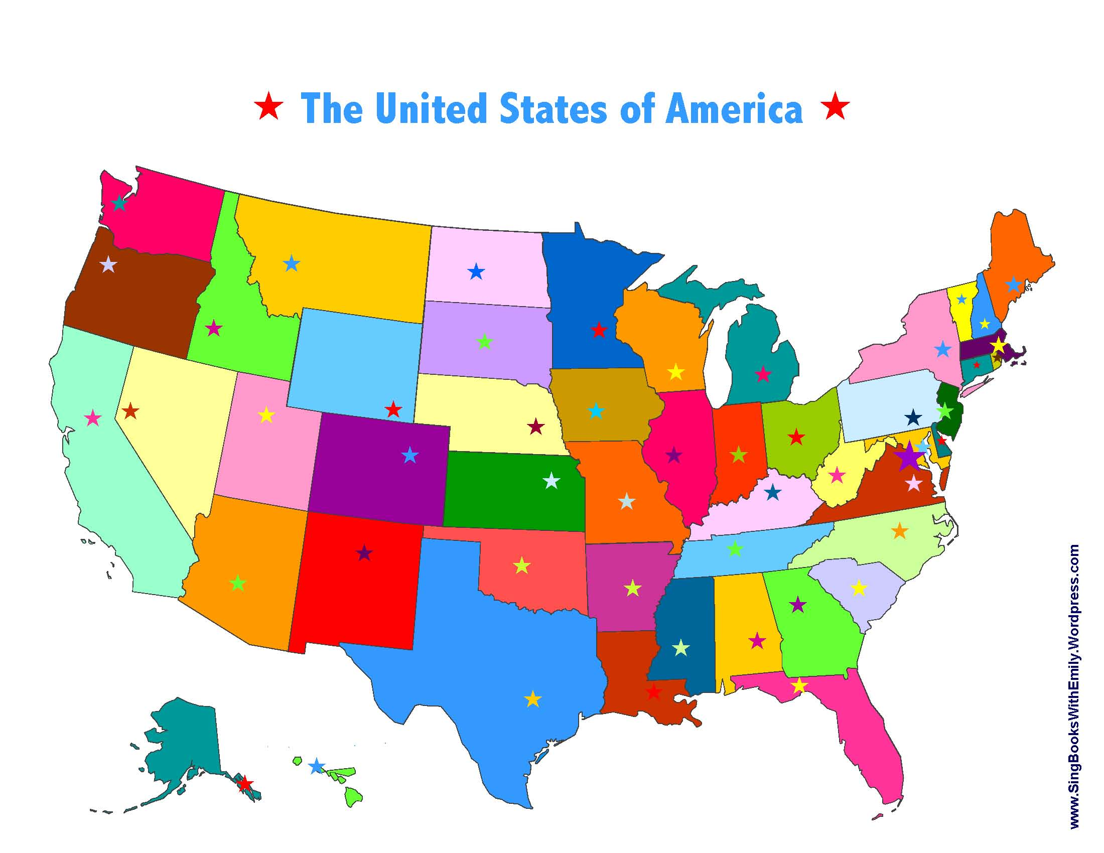 Color With Capitals United States Maps Usa Wiring Free Printable - Map of usa states and capitals