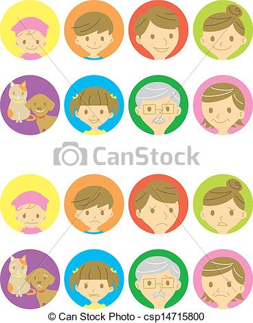 Vector   Happy Faces And Sad Faces   Stock Illustration Royalty Free