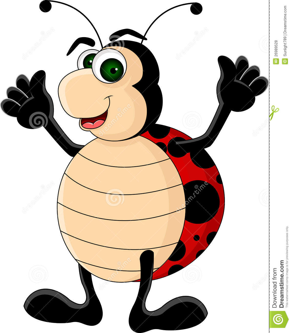 Vector Illustration Of Funny Ladybugs Cartoon