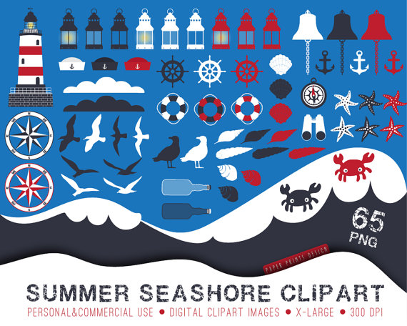 65 Nautical Clipart Baby Shower Clipart Summer Seashore Clipart