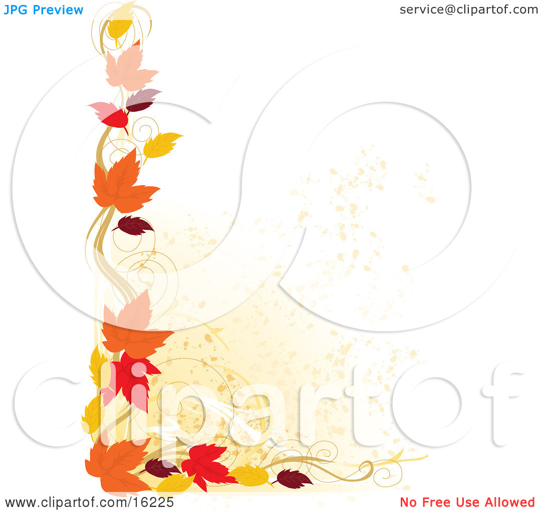 Border Of Autumn Leaves Over A White Background Clipart Illustration