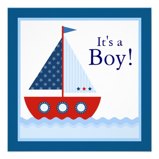 Boys Nautical Sailboat Baby Shower 5 25 Square Invitation Card