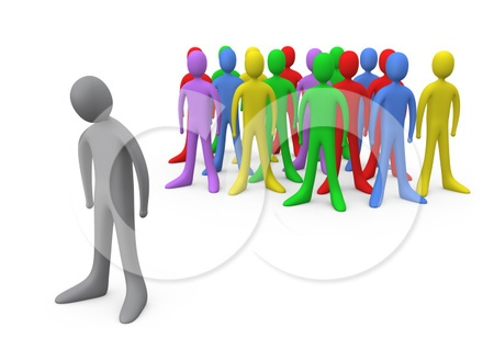 Bullying Standing Out From The Crowd Etc Clipart Illustration Graphic