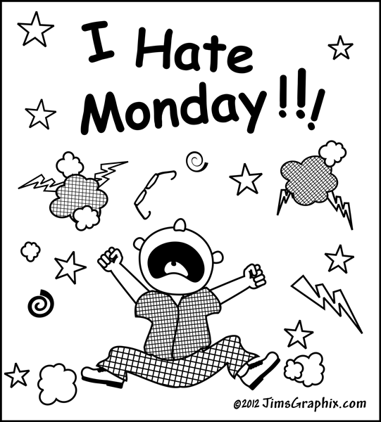 Cartoon Humor Illustration  I Hate Monday   Original Clip Art