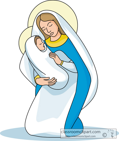 Clip Art of Mary Mother of Jesus for Preschoolers