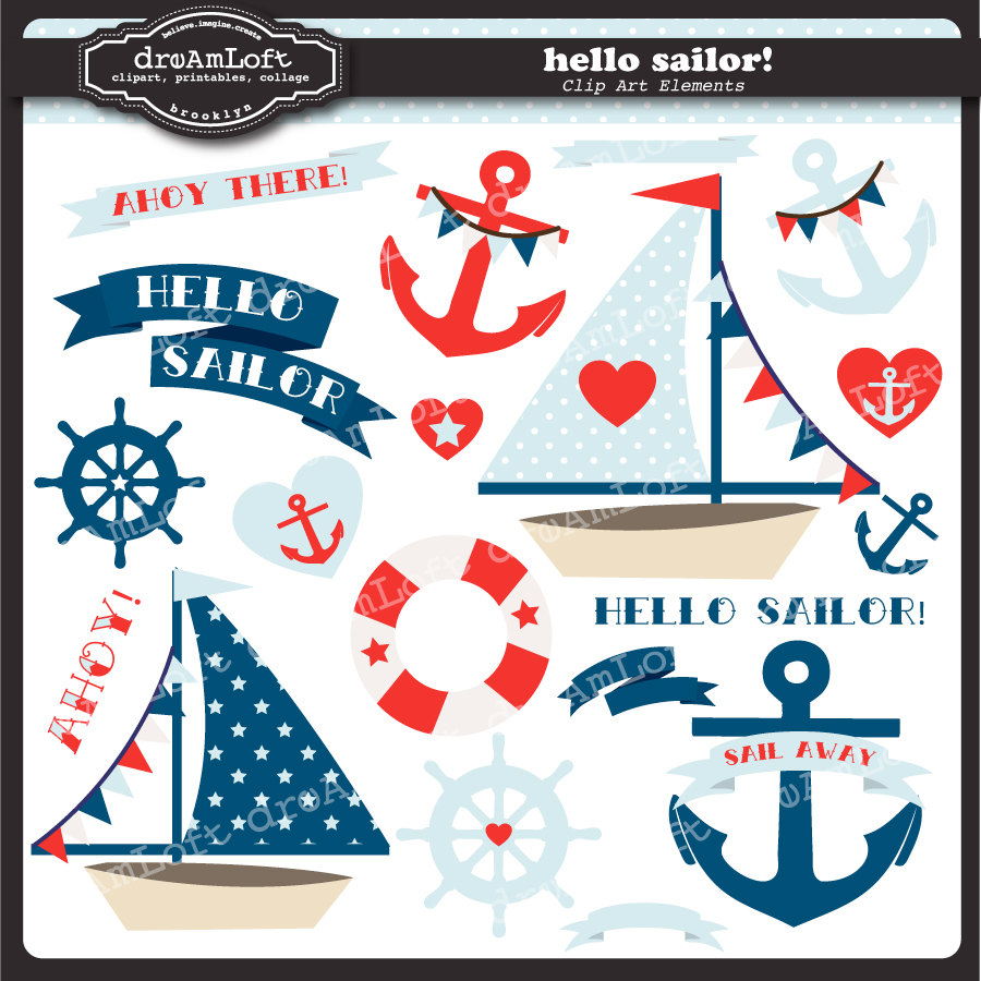Hello Sailor Clip Art Collection Nautical Themed By Dreamloft
