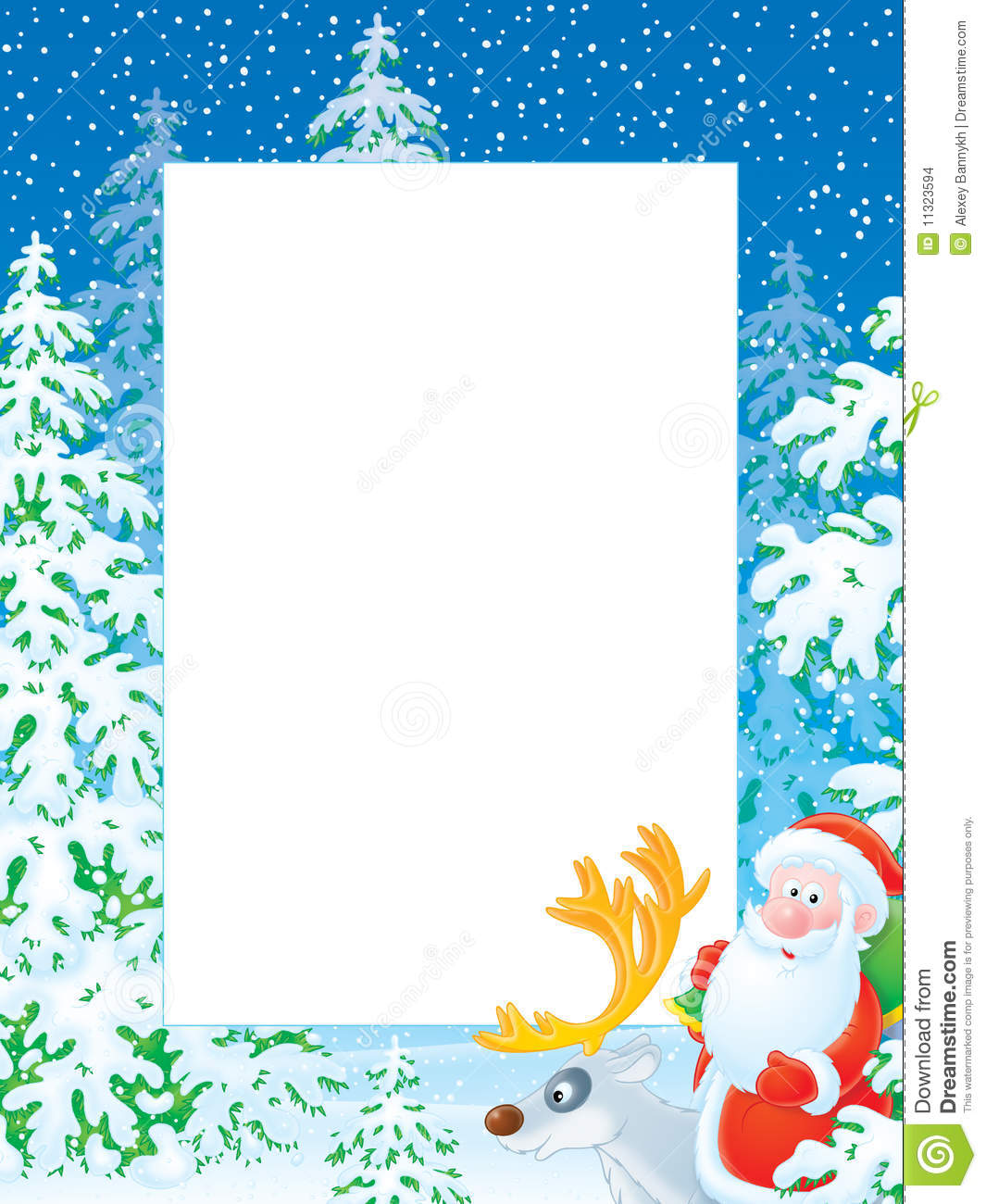 High Resolution Border With Santa Claus And Reindeer For Your Photo Or