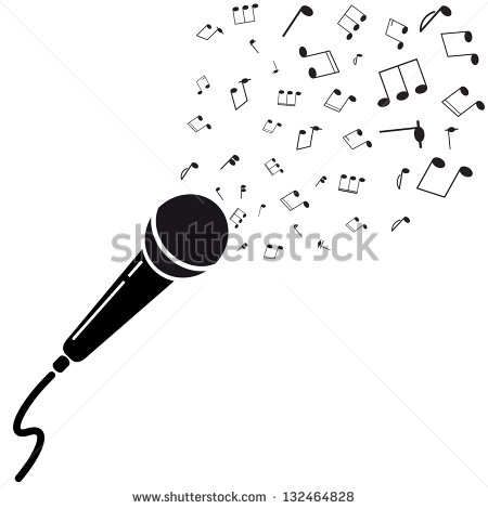 Microphone Black Silhouette With Notes  A Vector Illustration Isolated