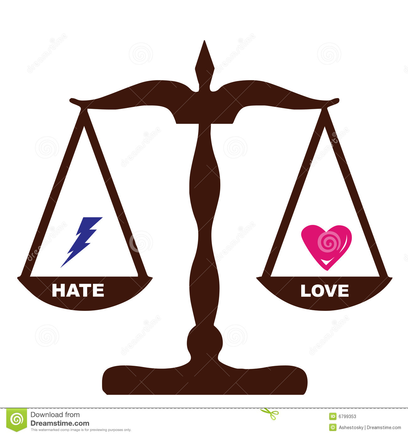 More Similar Stock Images Of   Love Hate Feelings Weights The Same