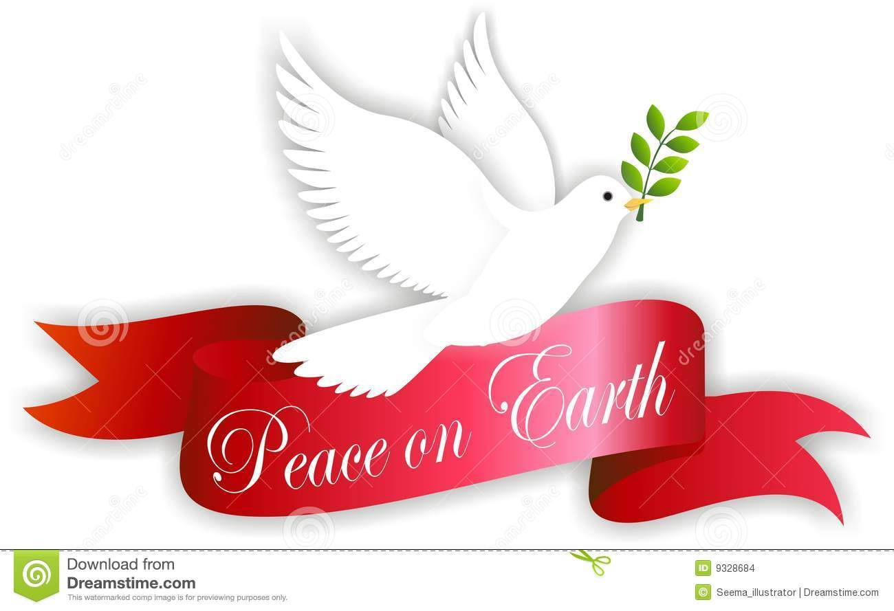 Of Peace Dove With Banner Bearing The Words Peace On Earth