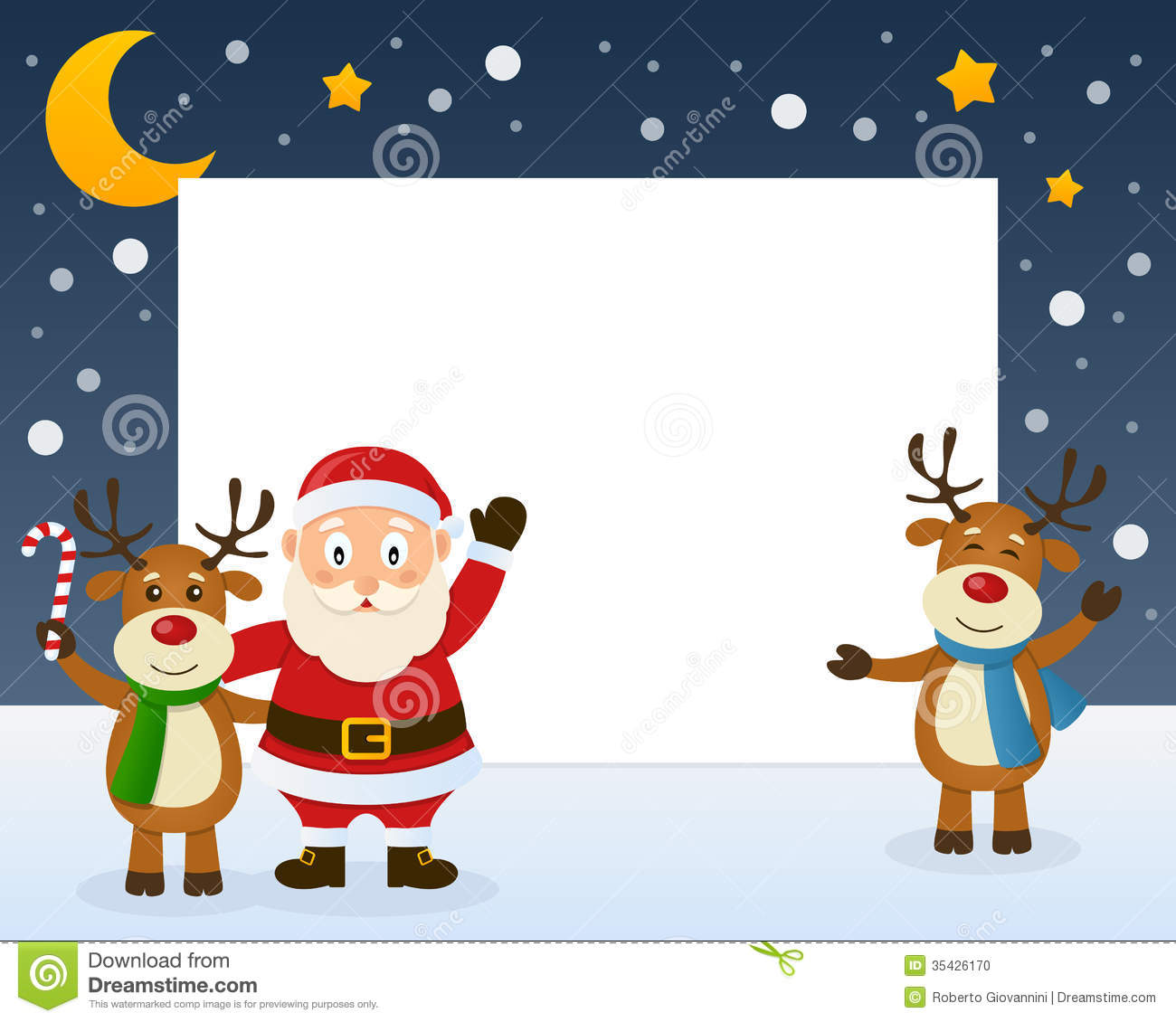 Santa Claus Character And Two Cute Reindeer On The Snow  Eps File