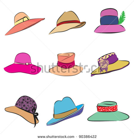 Women Hats Set   Stock Vector