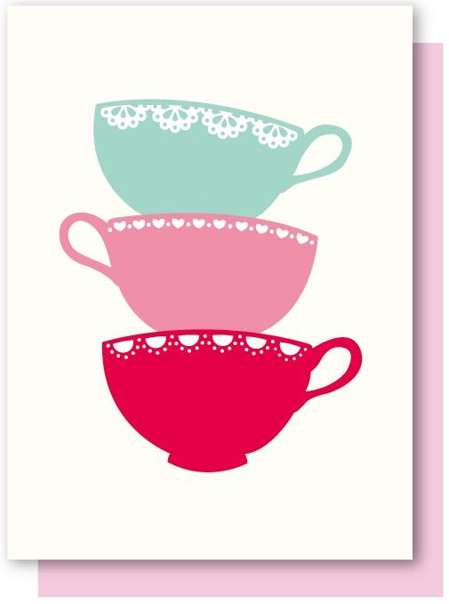 Greeting Card Elly Oak Afternoon Tea Teacup StackClipart Kid