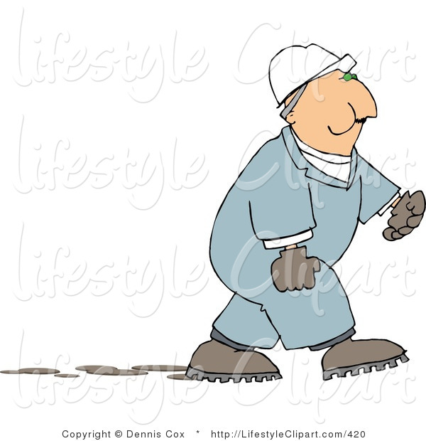 Lifestyle Clipart Of A Male Worker Chewing On Tobacco On His Break By
