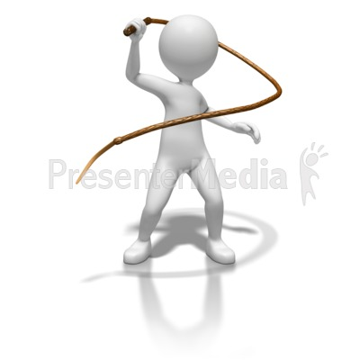 Stick Figure With Whip Presentation Clipart