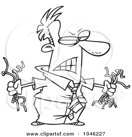 Cartoon Black And White Outline Design Of A Mad Businessman Holding