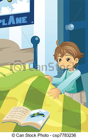 Clip Art Vector Of Boy Making His Bed   A Vector Illustration Of A Boy