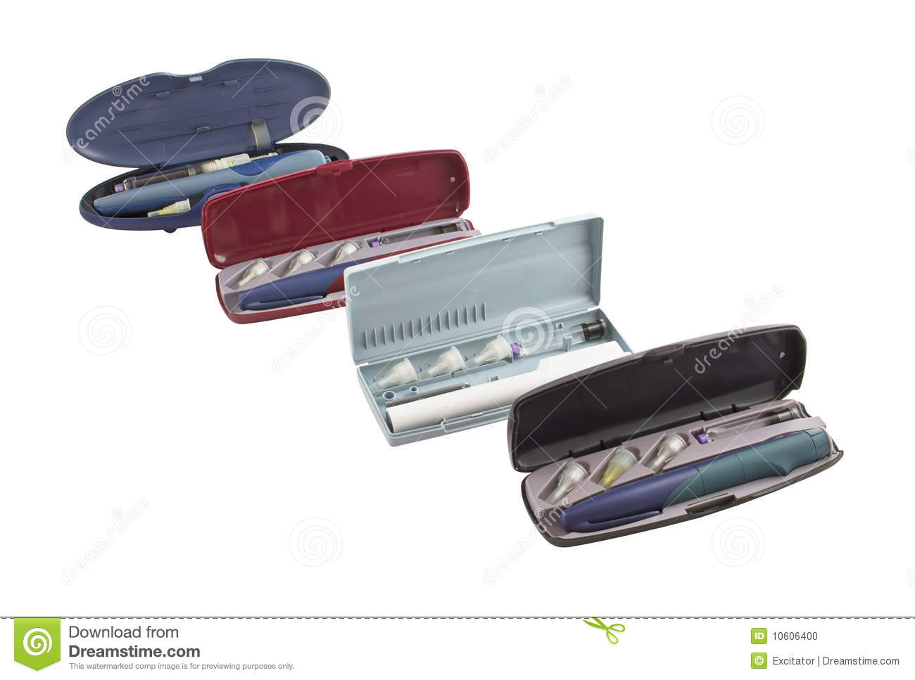 Four Insulin Pens With A Containers And Disposable Needles