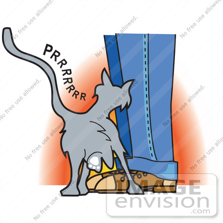 Royalty Free Cartoon Clip Art Of A Cute Gray Cat Purring And Rubbing