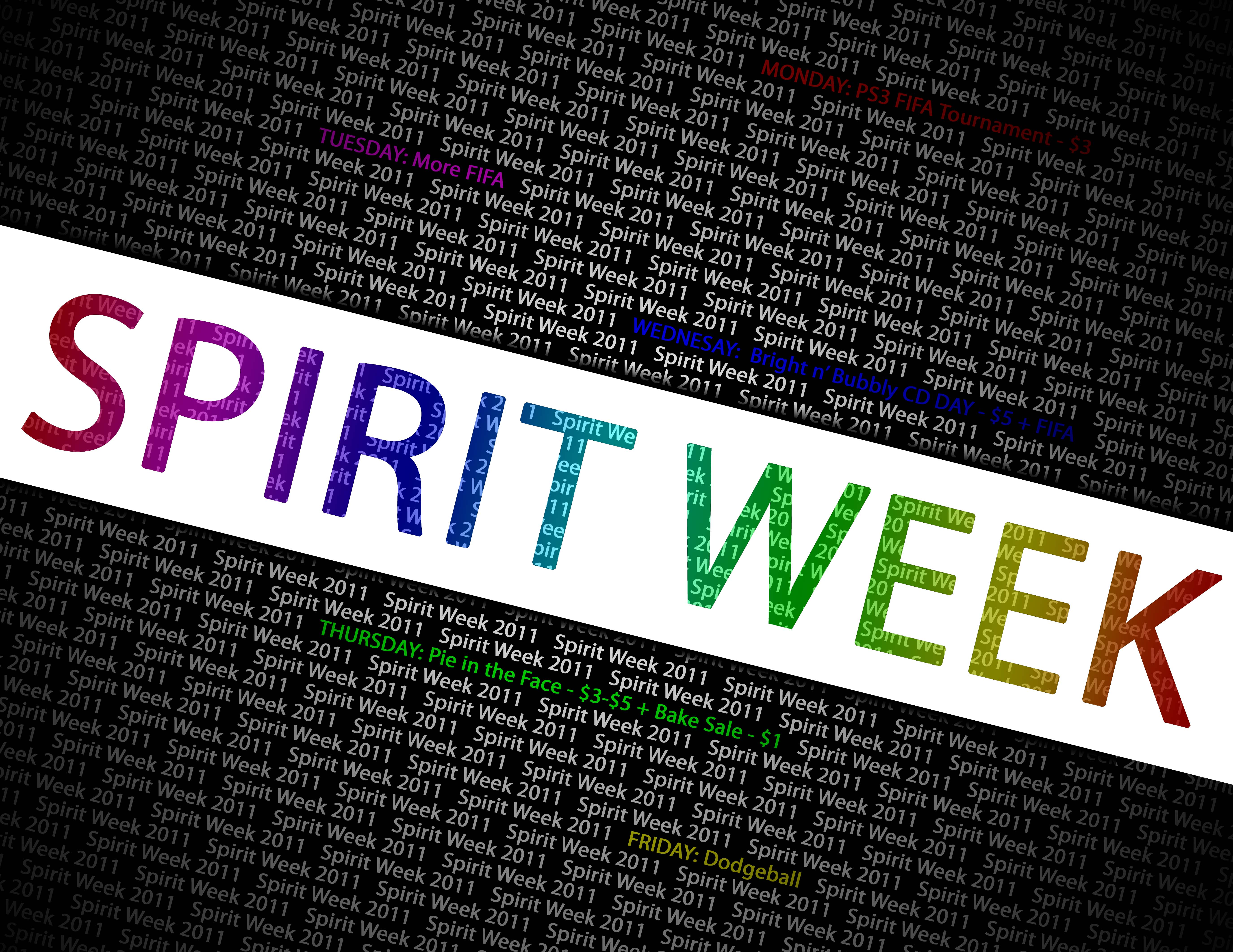 spirit week Spirit week spirit week is held 2-3 times a year: in the fall leading up to homecoming, in the winter during the last week of january, and in the spring prior to spring break.