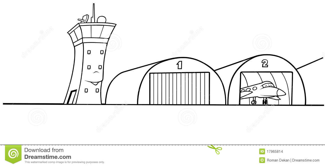 Airport Hangar   Black And White Cartoon Illustration Vector