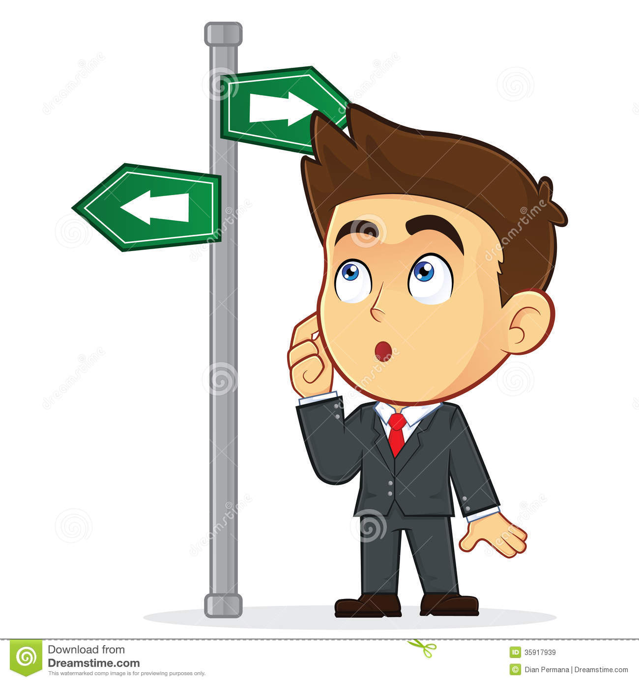 Businessman Looking At A Sign That Points In Many Royalty Free Stock